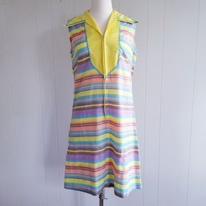 1970s Yakko Multi-Color, Cotton Blend Dress